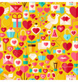 Valentine Day Flat Design Yellow Seamless Pattern vector image
