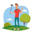 video blogger modern blogger recording vector image