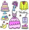 wedding element doodles vector image vector image