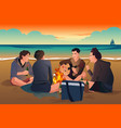young people on the beach vector image