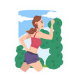 young woman running in city park businesswoman or vector image vector image