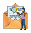 young woman working with envelope vector image vector image