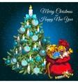 Christmas tree and Santas bag with gifts vector image