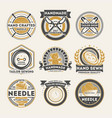 tailor shop vintage isolated label set vector image