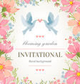 Wedding invitation card with flower frame vector image