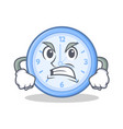 angry clock character cartoon style vector image