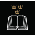 Bible with crowns vector image vector image