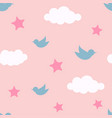 bird in cloud and star seamless pattern cartoon vector image vector image