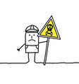 cartoon worker with danger and stop sign vector image vector image