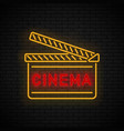 cinema night sign neon vector image vector image