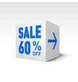 cube banner template sixty percent off discount vector image vector image