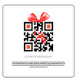 cyber monday sale poster with qr code and ribbon vector image