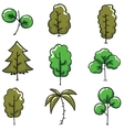 Doodle of tree set flat style vector image vector image