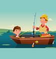 father son fishing vector image vector image