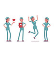 female nurse in positive emotions vector image vector image