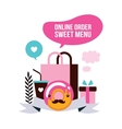 Food delivery set Sweet dessert shopping Delicious vector image vector image