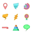 Graph icons set cartoon style vector image vector image