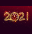 happy new 2021 year greeting card template clock vector image vector image