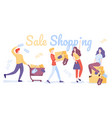 happy shopping people sale shopping flat vector image