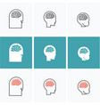 icons brain heads of three people vector image vector image