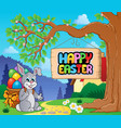 image with easter bunny and sign 2 vector image