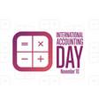 international accounting day november 10 holiday vector image vector image