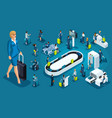 isometric set international airport business trip vector image