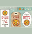 italian pizza stickers set vector image vector image