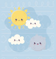 kawaii planet sun and clouds character cartoon vector image