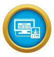 lab digital monitor icon blue isolated vector image vector image