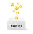 money box and golden coins money drop into box vector image vector image