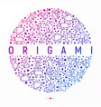 origami concept in circle with thin line icons vector image vector image