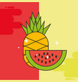 pineapple and watermelon fresh delicious vector image
