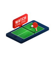 ping pong table on phone screen online concept vector image