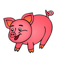 pink smiling pig isolated on white background vector image