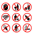 prohibited signs vector image vector image