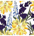 seamless patterns with rhododendron vector image vector image