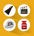 set cinema concept symbol icons vector image