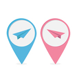 Set of map pointers with origami paper plane icon vector image