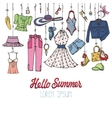 Summer fashion setWoman colorful wear hanging on vector image vector image
