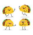 taco cute fast food character set vector image vector image
