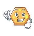 thumbs up hexagon character cartoon style vector image