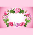 tulip rose peony flower on pink vector image vector image