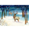 Watercolor Winter Landscape with Deers vector image