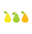 yellow green and orange pear vector image vector image