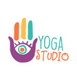 yoga studio logo colorful hand drawn vector image vector image
