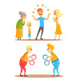 young man juggling with oranges before his family vector image vector image