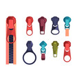 zipper fashion steel colored items for zippered vector image vector image