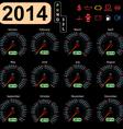 2014 year calendar speedometer car vector image vector image