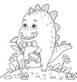 a children coloring bookpage a little dino on the vector image